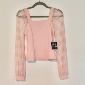 Mixed Thread  Pink Lace Long Sleeve Top